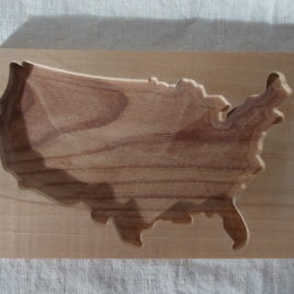 1 p sample piece unfinished wood USA map, USA blank picture frame