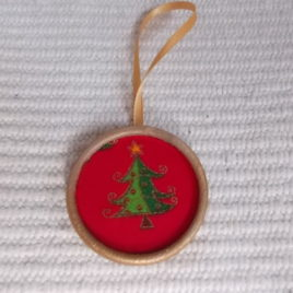 1 pc Xmas decor – Antiqued wooden&textile decoration with xmas tree patter