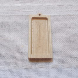 1 pc unfinished thinner rectangle shaped pendant base with wooden loop