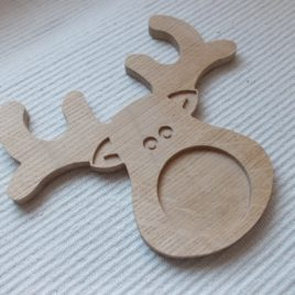 1 pc unfinished wooden reindeer-shaped picture@photo frame
