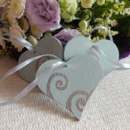 3 pc Blue Vintage Wooden Love Heart Wedding or Christmas Decoration, Heart Xmas Decor