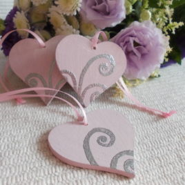 3 pc Little Pink Vintage Wooden Love Heart Wedding or Christmas Decoration, Heart Xmas Decor