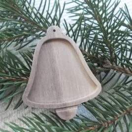 1 pc 2.7″ Unfinished Wooden Blank Bell Christmas tree Decoration