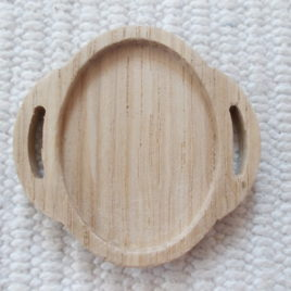 1 p unfinished wooden 30×40 mm oval connector with long eyelet