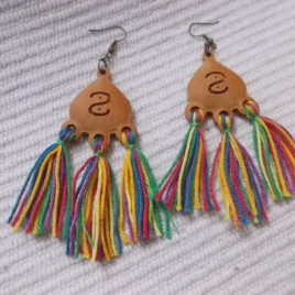 Pair of unfinished drop-shaped earrings with 3 rings at the bottom